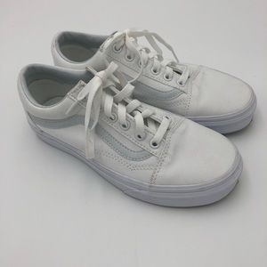 VANS White Canvas White Leather Trim Sz 7
